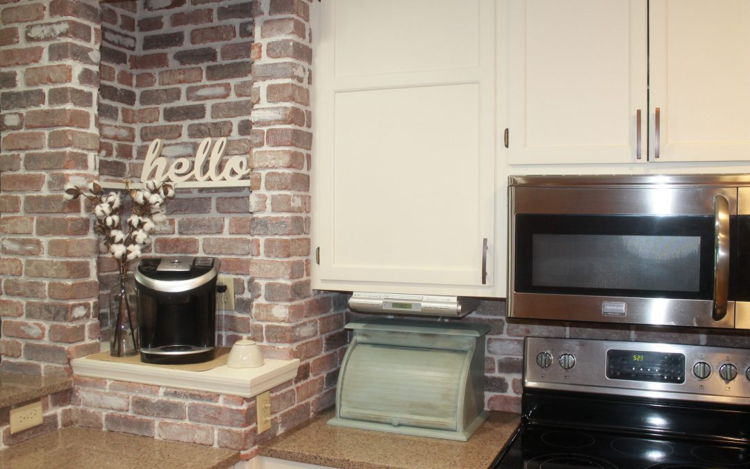 DIY Farmhouse Brick Backsplash