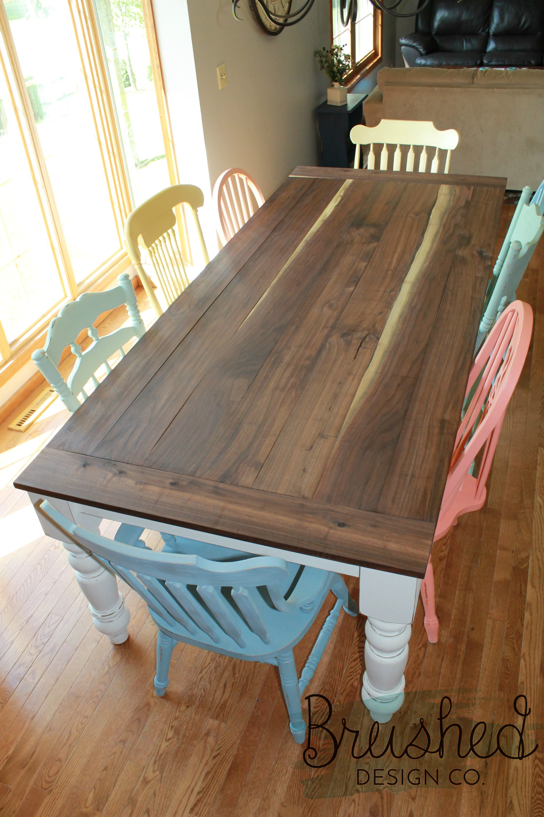 DIY Farmhouse Table and Chairs - Brushed Design Co.